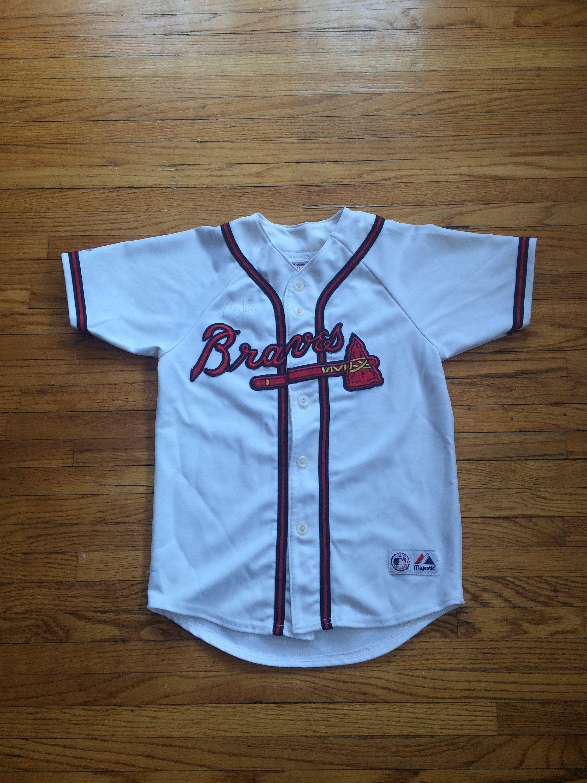size 40 5ca7e d05e0 Vintage Atlanta Braves Chipper Jones Signed Button Up ...