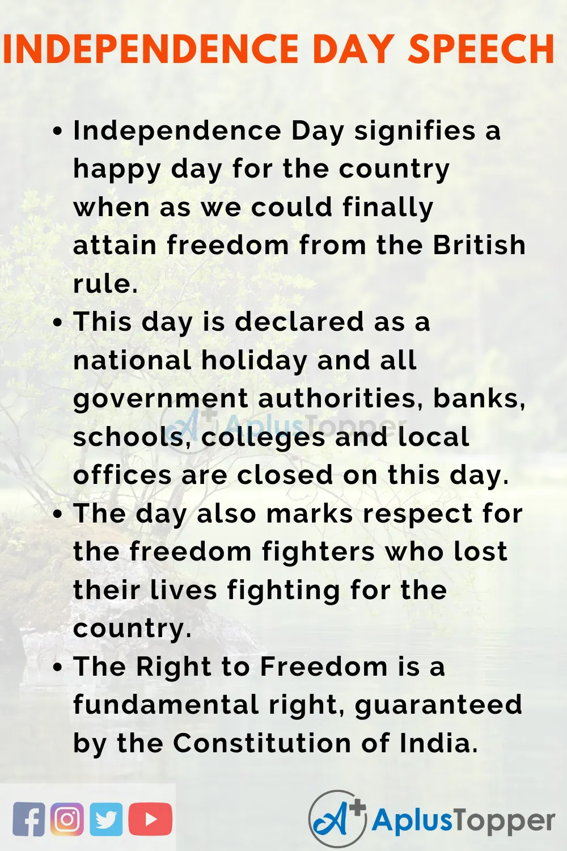 Independencedayspeechforteachers Aplustoppercom Independence Day Speech Lines On Independence Day Real Life Quotes