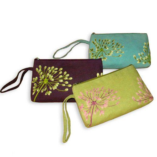 Embroidered Flamboyant Wristlet