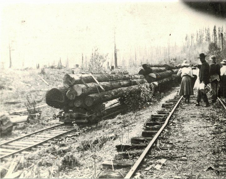 https://www.facebook.com/photo.php?fbid=194853400571913 James N Angie Miller Hikers heading to Lake Hannah from end of Cherry Valley Logging Company tracks- 1908 — in Duvall, WA, United States.