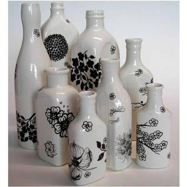 como hacer floreros con botellas floreros pinterest flaschen glas y mach dein ding. Black Bedroom Furniture Sets. Home Design Ideas