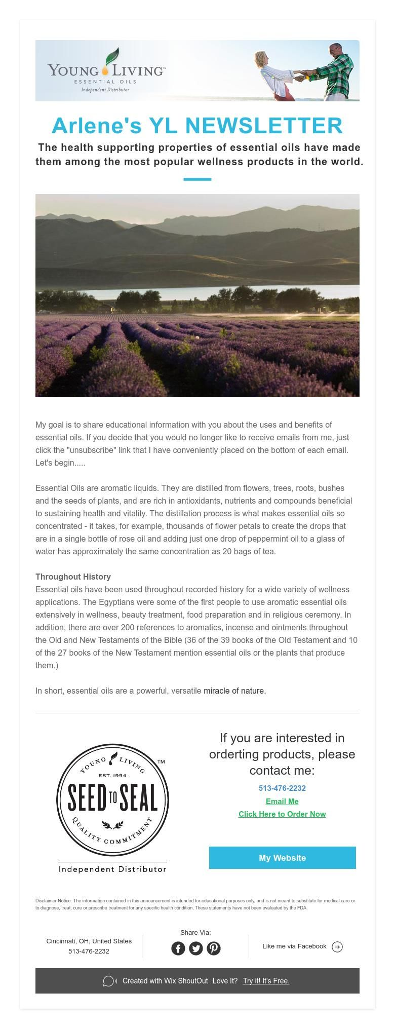 Arlene's YLNEWSLETTER  The health supporting properties of essential oils have made them among the most popular wellness products in the world.