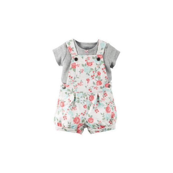 2-Piece Tee Shortalls Set ($17) ❤ liked on Polyvore featuring baby girl and baby