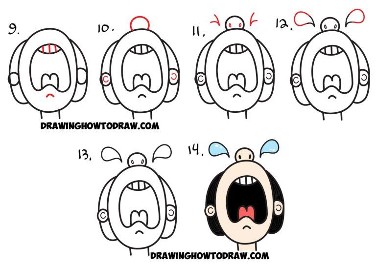 How To Draw Cartoon Crying Person From The Word Cry Easy Step By Step Drawing Tutorial For Kids How To Draw Step By Step Drawing Tutorials Drawing Tutorials For