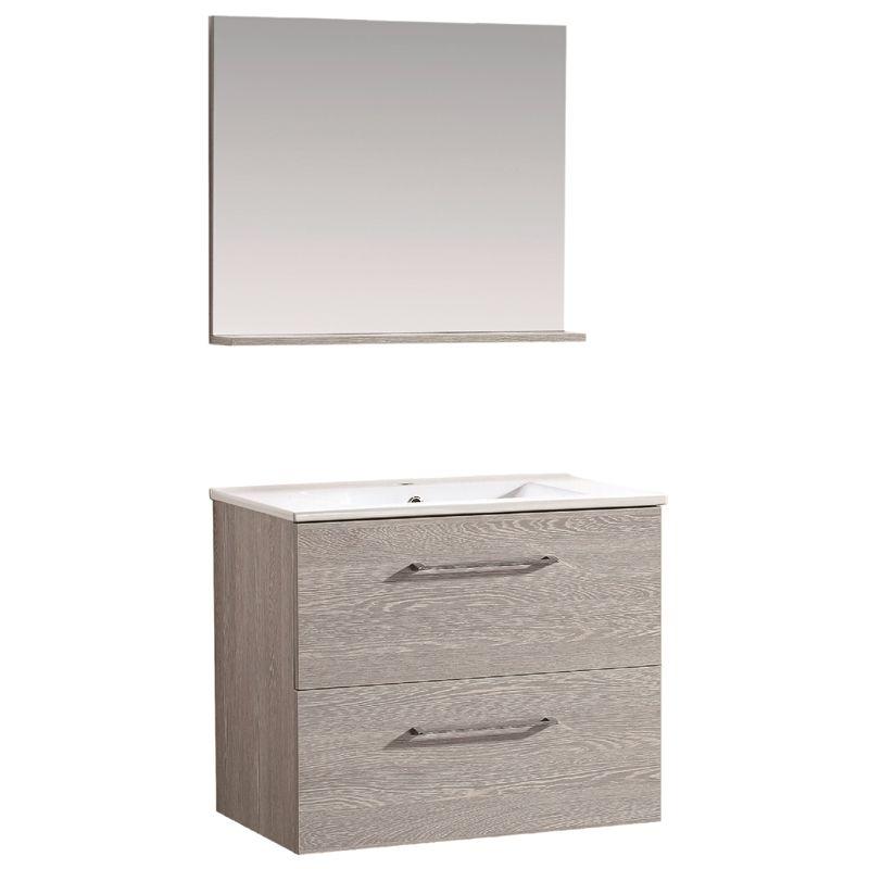 Bathroom Cabinets 700mm mondella 700mm wood grain wall hung vanity with mirror - $298