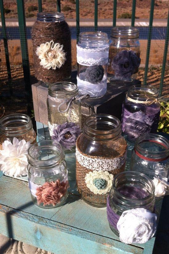Rustic Wedding Decor 15 Bulk Burlap Lace Mason Jars Lanterns