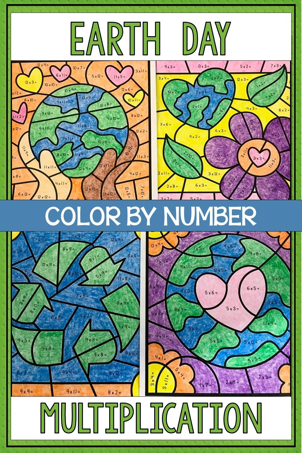 Earth Day Math Color by Number Multiplication | Math fact practice ...