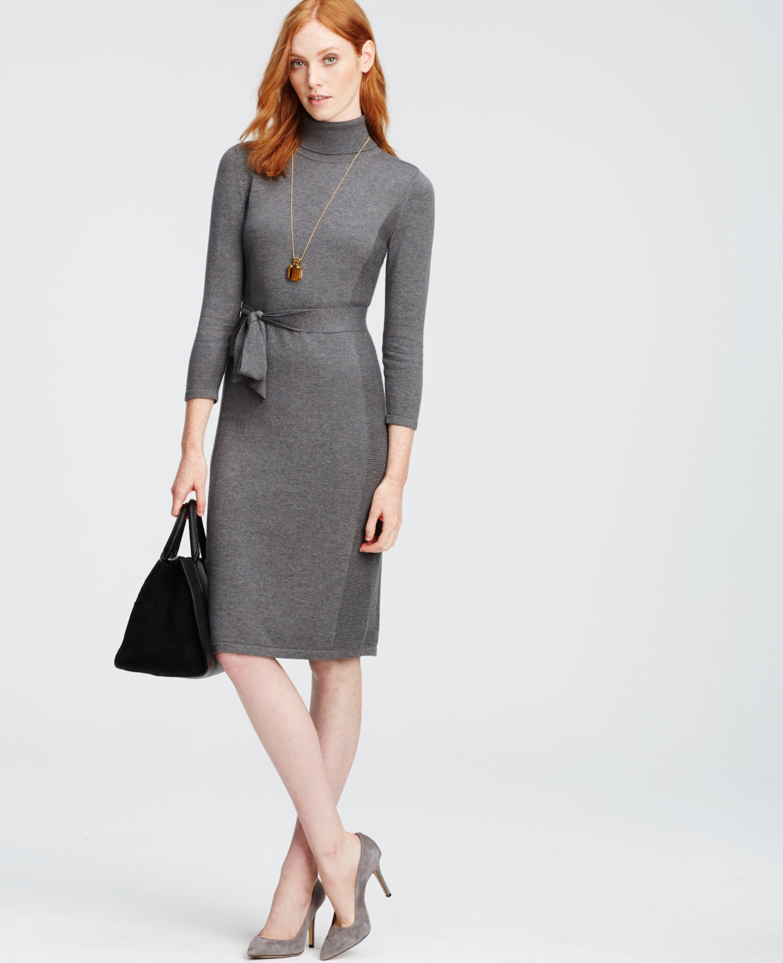 ebb965dee00d The Turtleneck Sweater Dress in grey.