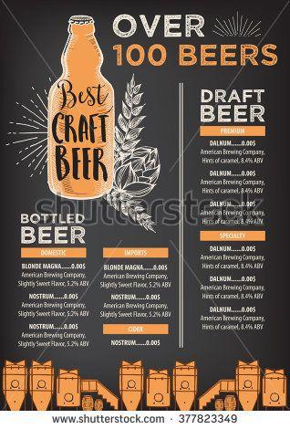 Beer Restaurant Brochure Vector Alcohol Menu Design Vector Bar