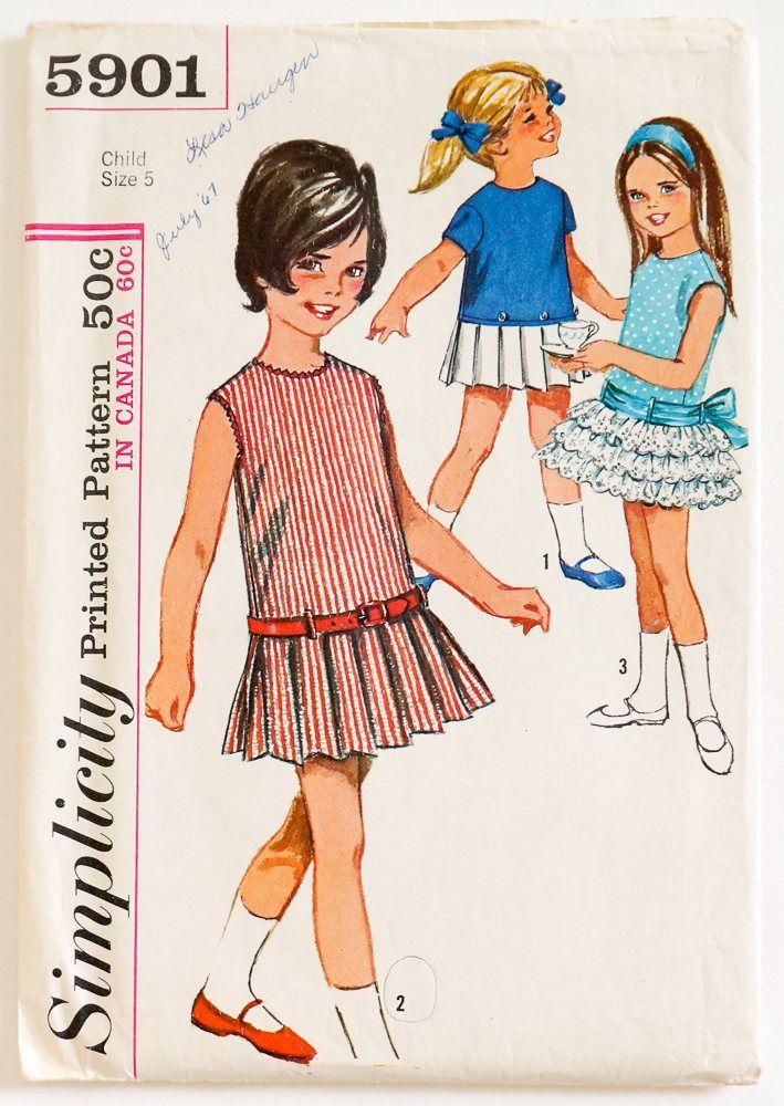 Vintage 1960s Girls Size 5 Mod Drop Waist One Piece Dress Simplicity ...