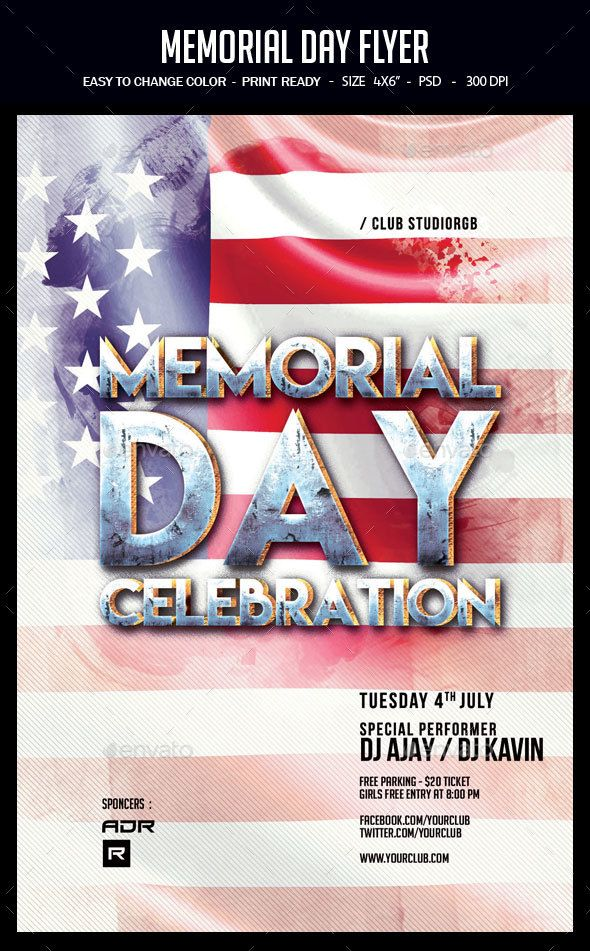 Memorial Day Flyer  Party Flyer And Flyer Template