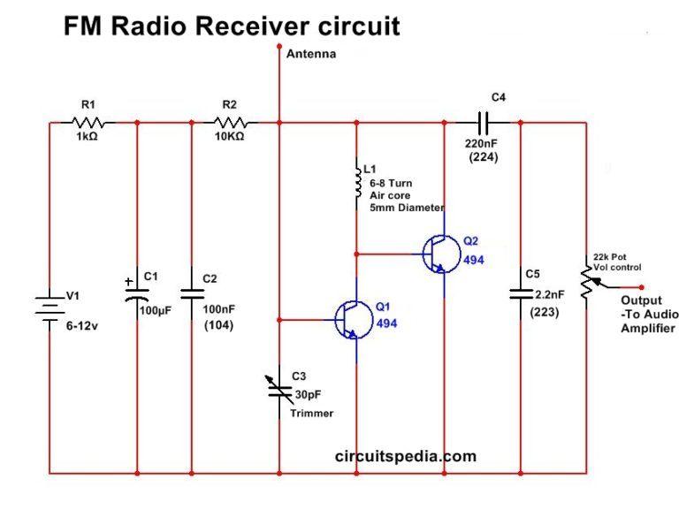 simple fm radio receiver circuit diagram | fm radio receiver, fm radio,  radio  pinterest
