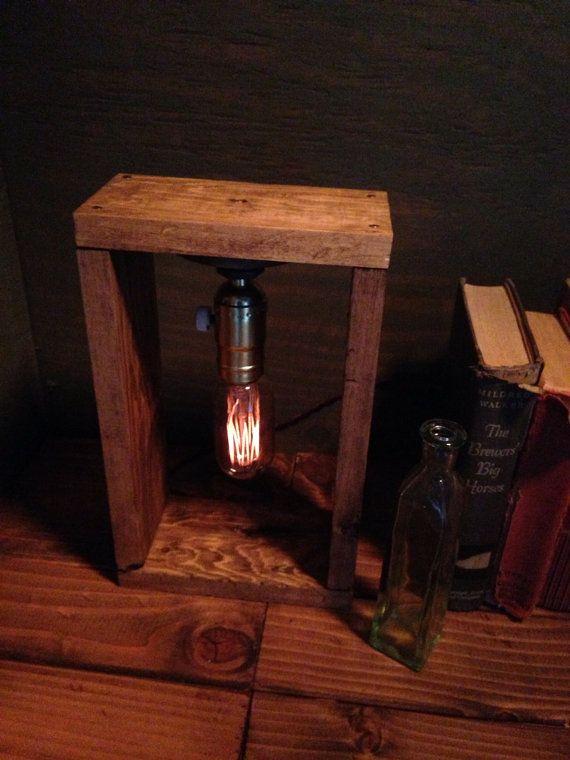 Dimmer Included Edison Light Metal Desk Lamp, Reclaimed Wood Base   Bookend  / Vintage Industrial