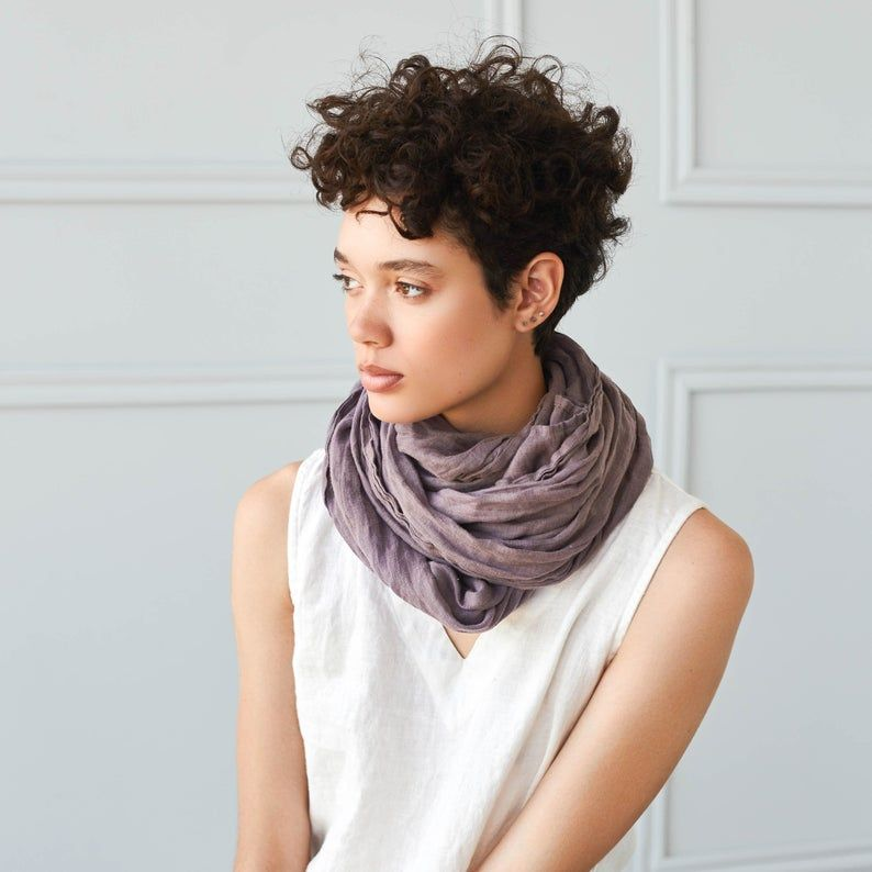 Washed linen scarf / Softened linen scarves in 9 c