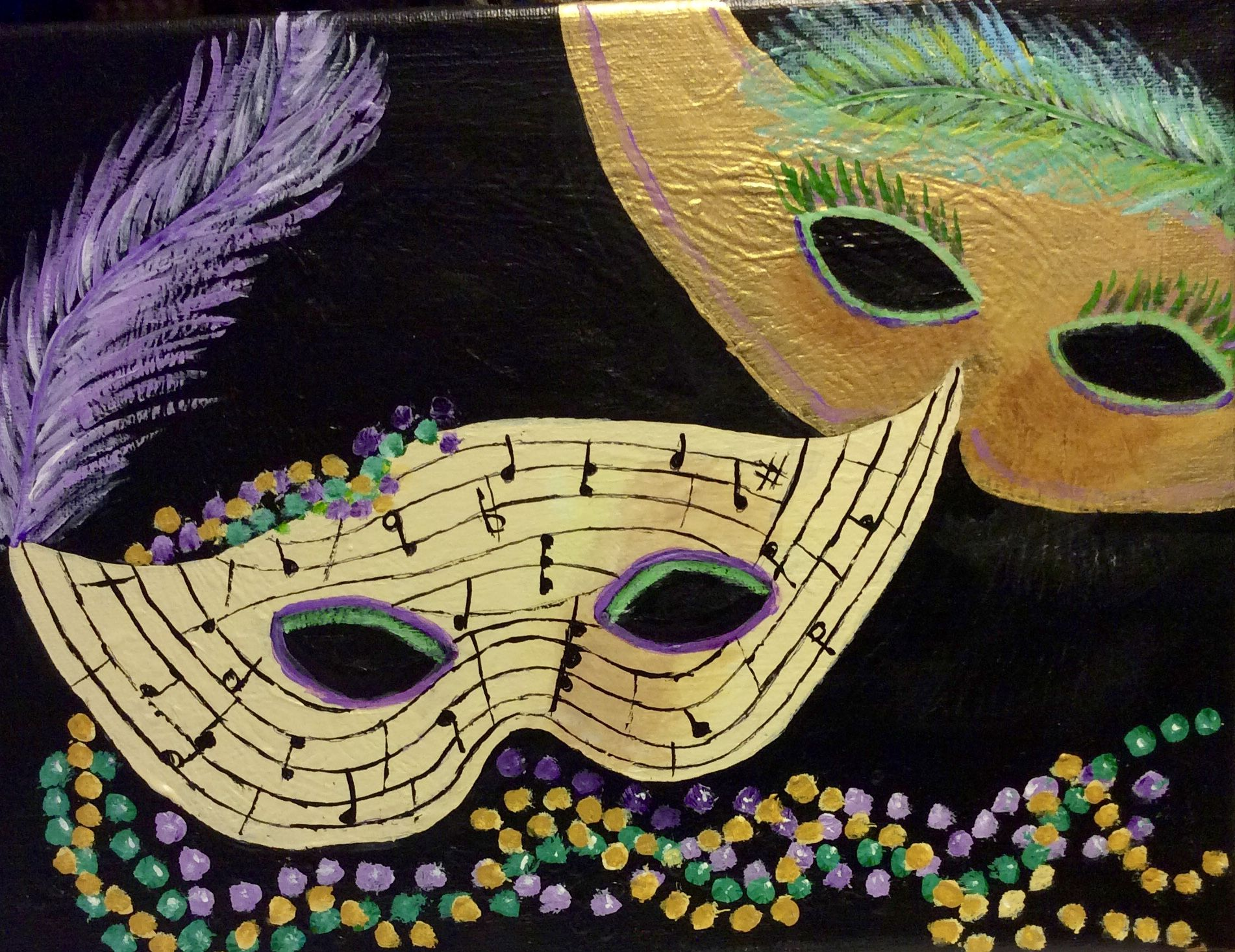 Cathie Fox was in the Mardi Gras spirit, as she completed these fun masks in two paintings. Love the feathers.
