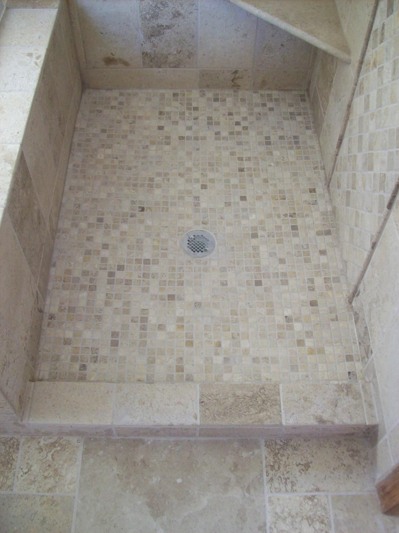 Natural Stone Tile Shower Floor with 1\
