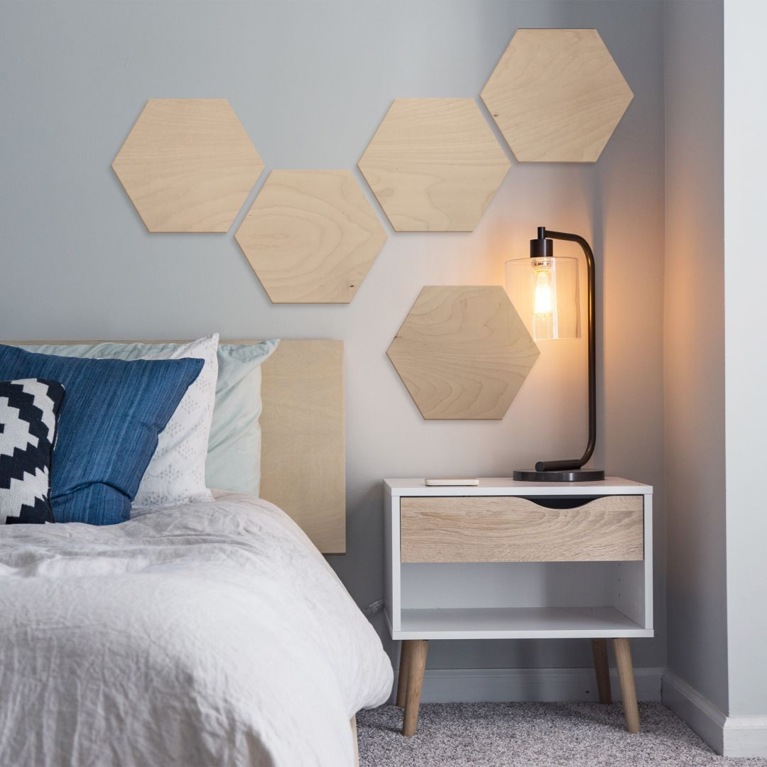 Hexagon - Holz Birke-Furnier (3er Set) | wall-art.de in 2019 | Holz ...