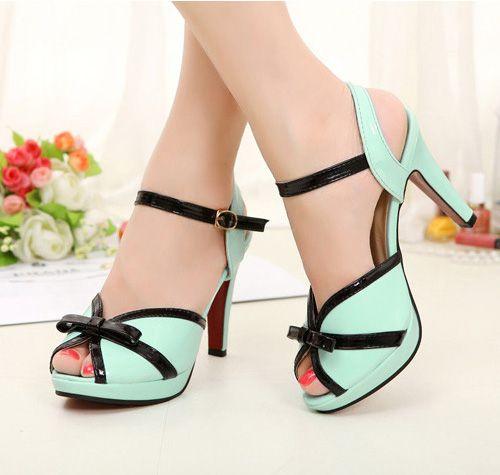 4250f9fe40 High heels peep toe candy color platforms bowknot sandals · SapatosSapatos  Femininos BaratosSapatos Para MulheresSapatos ...