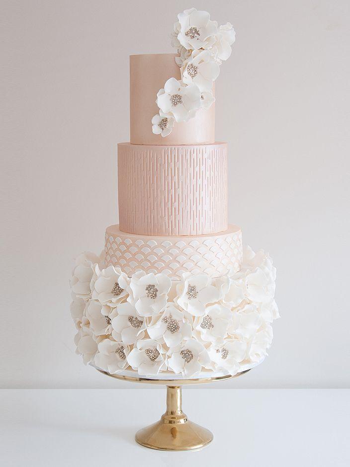 Elegant Pastel Pink Jeweled Encrusted Flowers Wedding Cake By Coco - Pastel Pink Wedding Cake