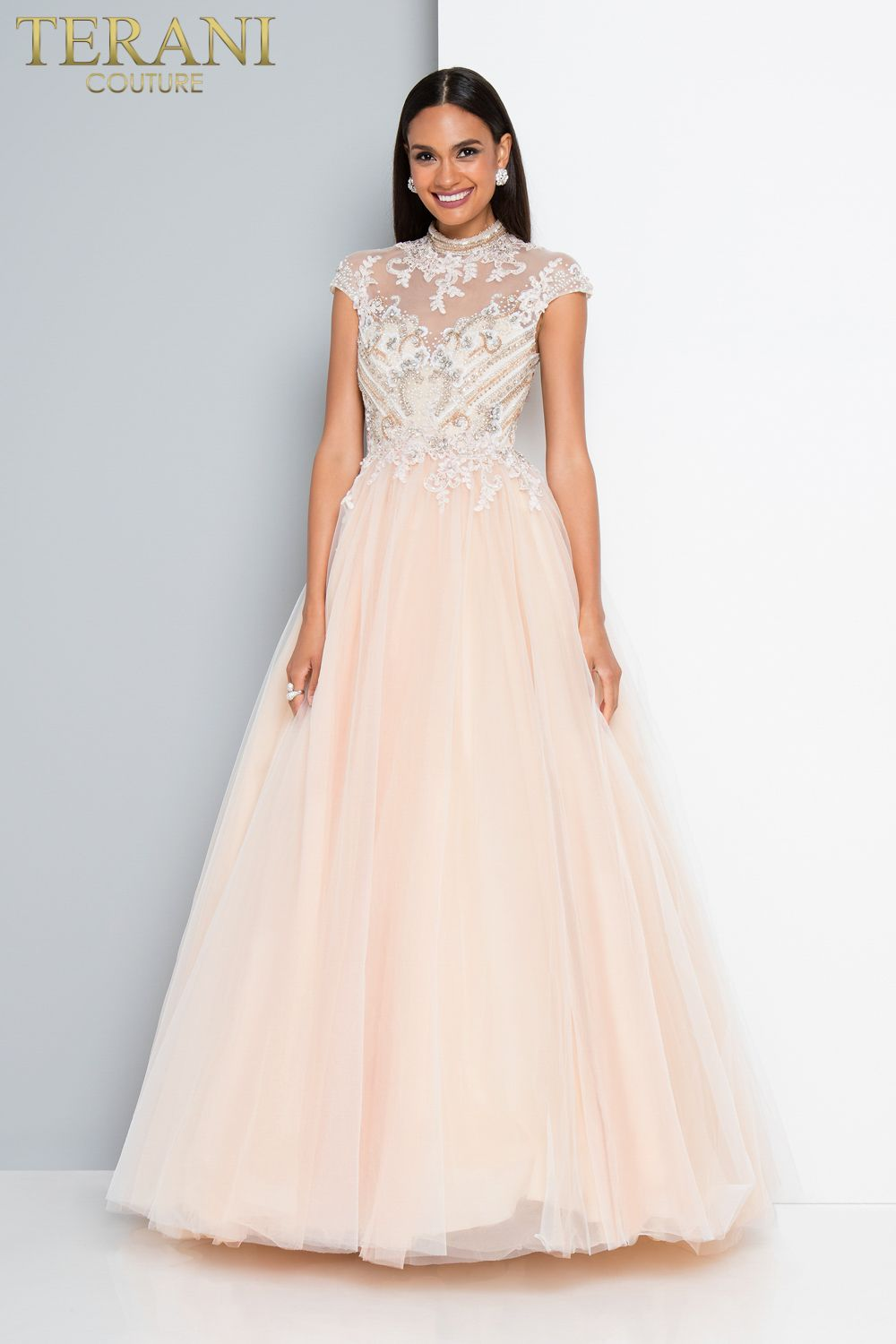 Terani Couture Blush Light Pink Champagne Ballgown with Lace Bodice ...