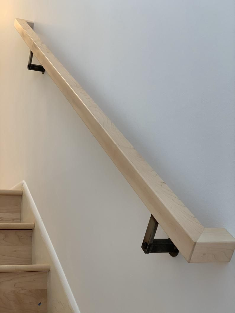 Top Rail Or Wall Mount Handrail Etsy In 2020 Wall Mounted Handrail Wood Railings For Stairs Diy Stair Railing