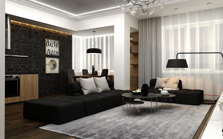 blanco y negro 50 ideas para el saln moderno y elegante - Cortinas Salon Moderno