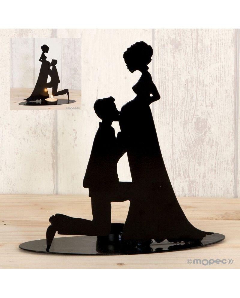 a8d564f576c Figura tarta silueta con portavelas novia embarazada | baile | Baby ...