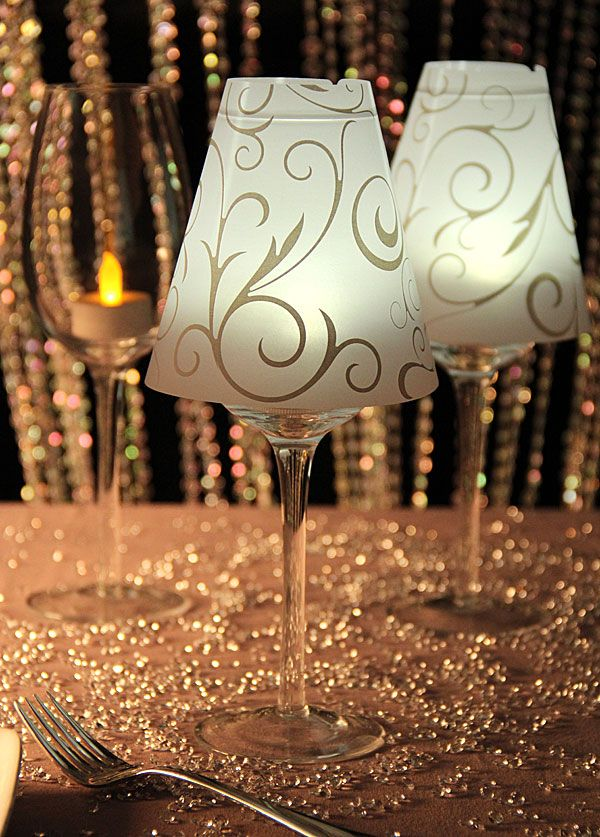 Turn any ordinary wine or champagne glass into a centerpiece with these adorable lamp shades. Description from batteryoperatedcandles.net. I searched for this on bing.com/images