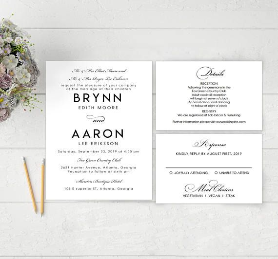 Free Microsoft Word Invitation Templates Interesting Printable Wedding Invitation Template  Clean Invitation .