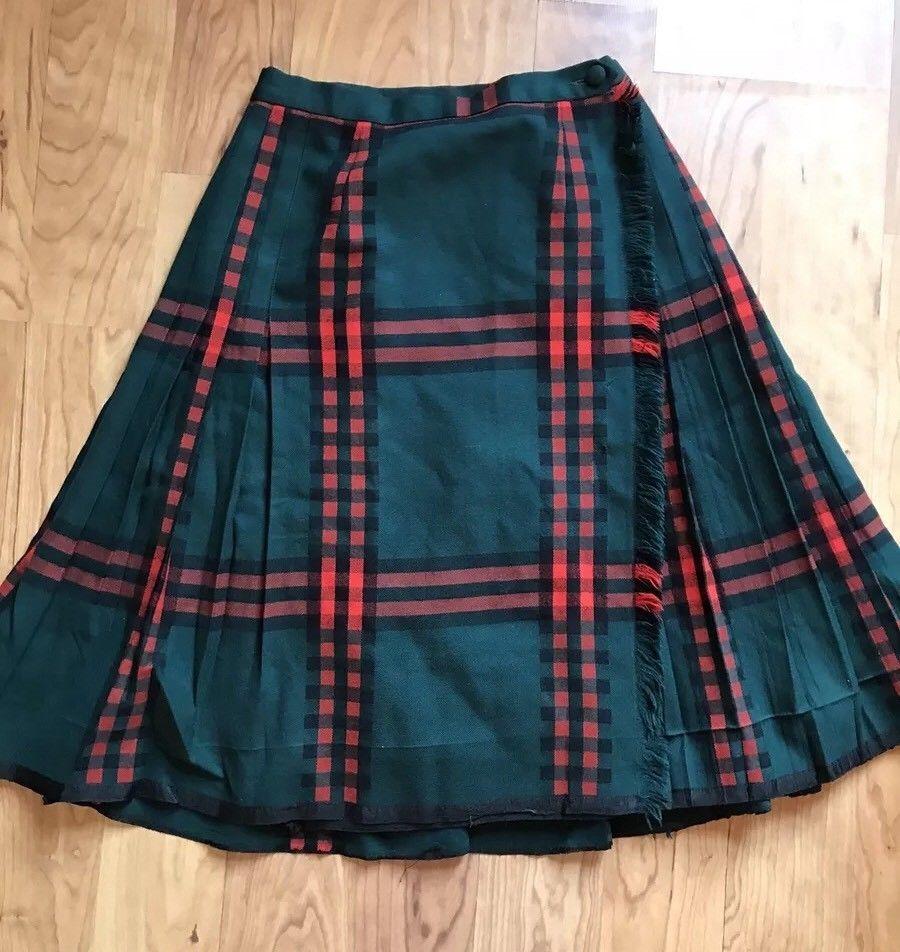 0761c746ee Vintage Highland Queen Women's 14 Red Green Plaid Skirt Kilt Tartan Virgin  Wool