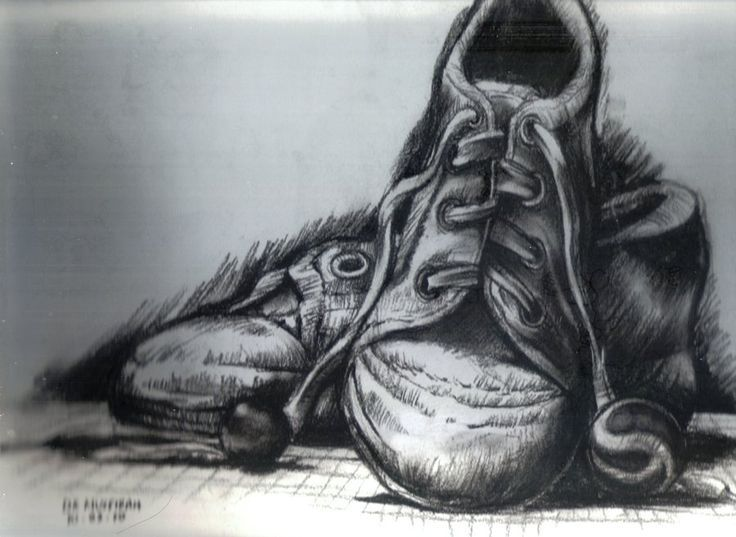 This is a cool charcoal drawing because the shoes are so detailed and its  really focused on placement of the shoes. The background shading puts an  emphasis ...