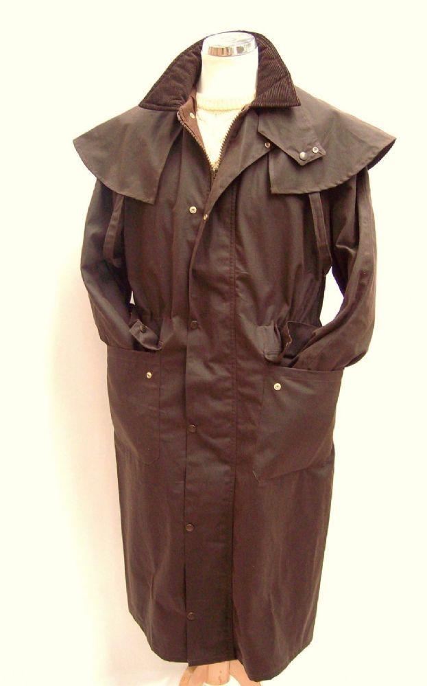 Mens long wax jacket