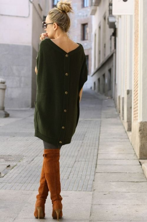 Oversized sweater, boots
