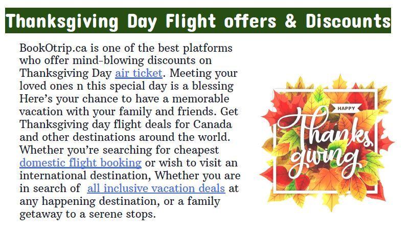 Thanksgiving Day Flight offers & Discounts   Flight offers ...