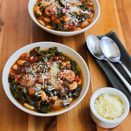 Slow Cooker Cannellini Bean Stew with Tomatoes, Italian Sausage, and Kale by kalynskitchen #Stew #Bean #Kale #Sausage #Slow_Cooker