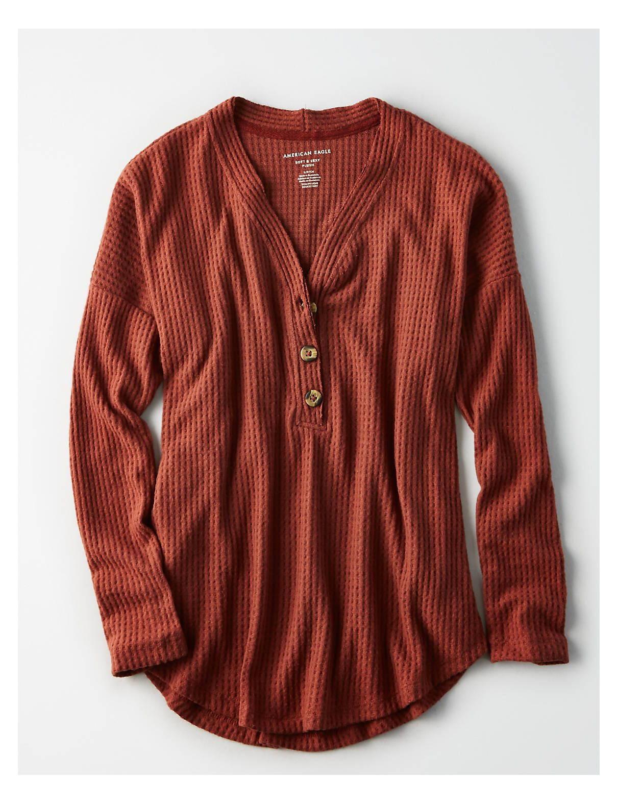 08e39c51955a AE Soft & Sexy Plush Waffle Henley, Rust | American Eagle Outfitters ...