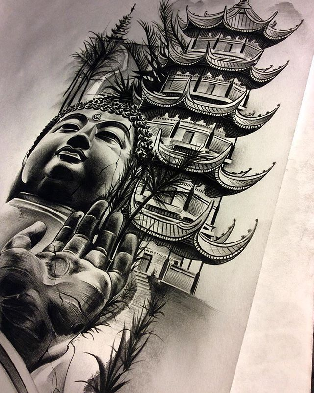 Finished Up The Buddha Temple Meditation Piece Inner Forearm Soft Colors Black Temple Tattoo Buddha Tattoos Buddha Tattoo Design