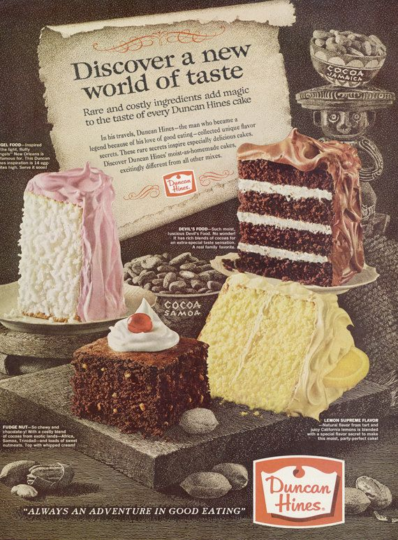 1964 Duncan Hines Cake Advertisement Mid Century Paper Ephemera