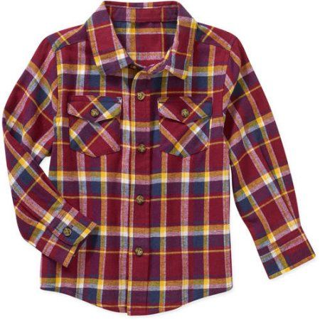 8b77b74e7 Healthtex Baby Toddler Boy Long Sleeve Flannel Shirt, Size: 4 Years, Red