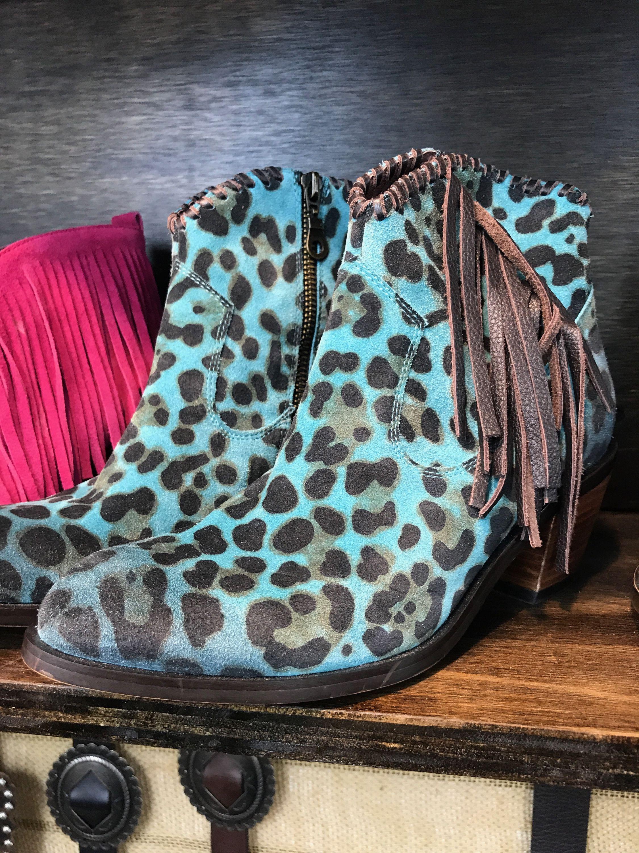 fringe leopard booties