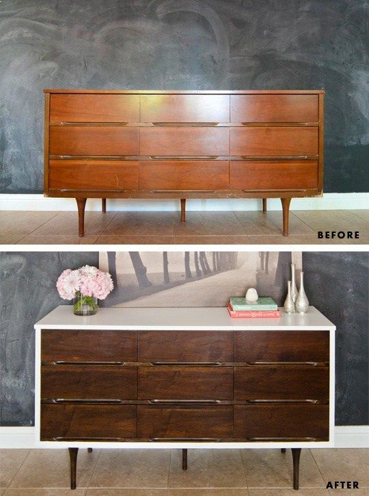 That is a sweet mcm makeover! Would love this in the family room as it still has a beachy vibe Before & After Mid Century Modern Dresser with tutorial for how to paint & paint veneer furniture