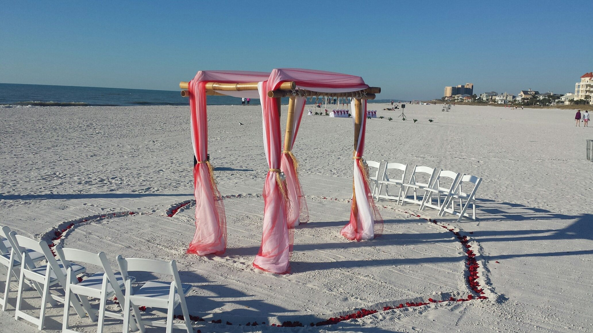 Beach wedding venues in san diego  Valantines day set up with fresh rose petals filling the heart