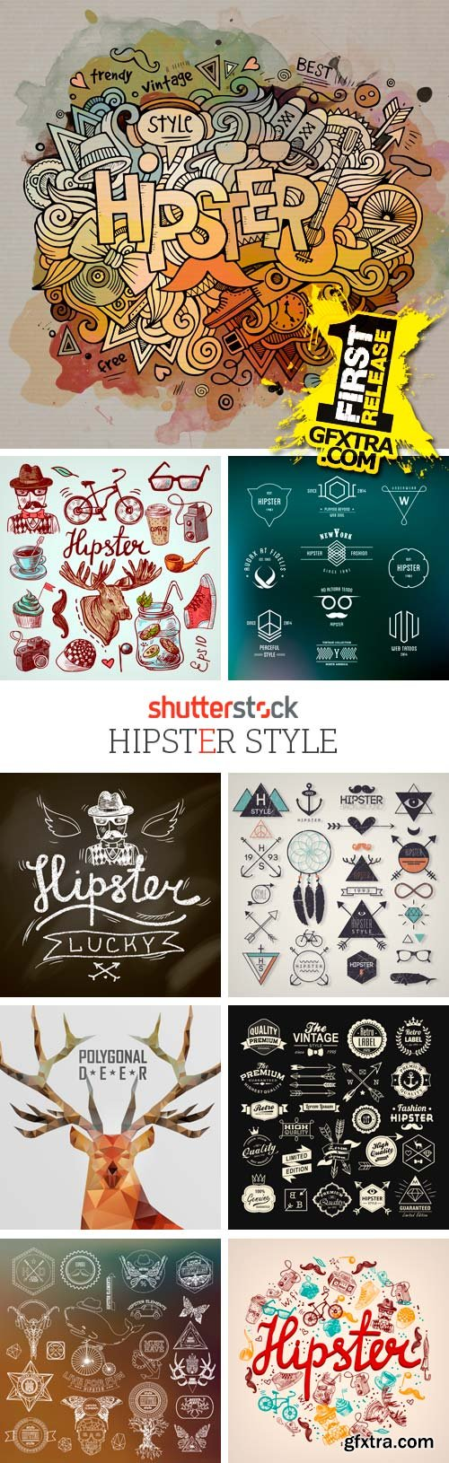T shirt design 4 25x eps - Amazing Ss Hipster Style 25xeps