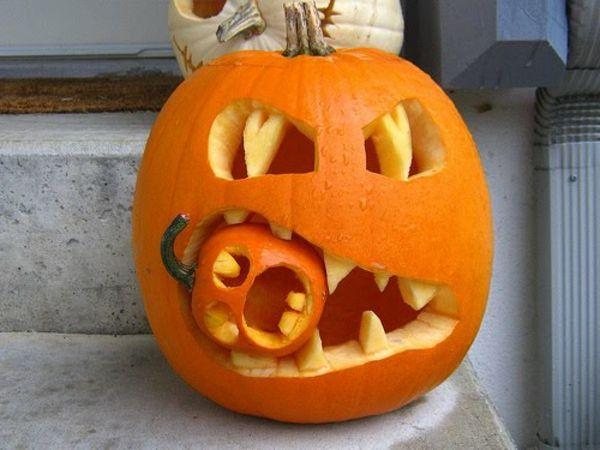 Halloween Kurbis Basteln Idee Kurbis Schnitzen Ideen Kurbisschnitzereien Kurbisse Schnitzen
