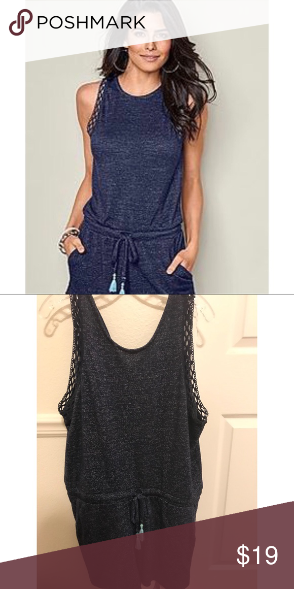 188da555452b Venus Navy Casual Romper XL Like new! Worn briefly one time. It was too  Large for me. Made of a comfy soft fabric with light blue tassel and  crochet lace ...