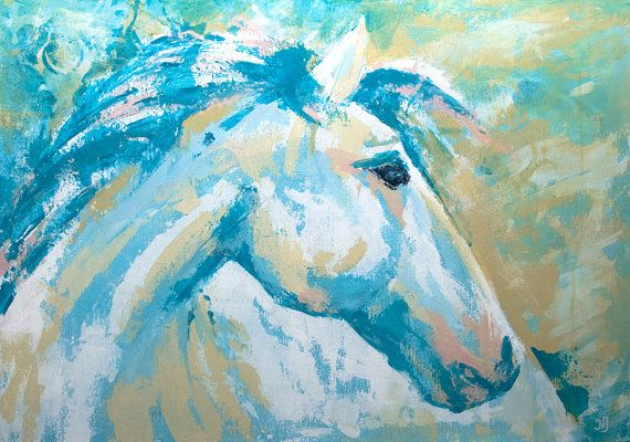 Pastel acrylic original painting of White Horse by NadjaJerajArt, $250.00