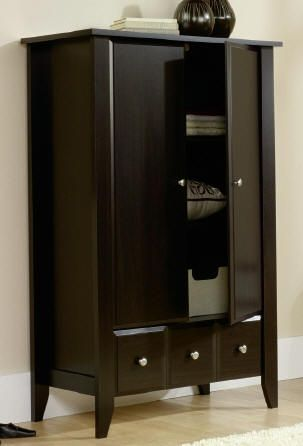 New Sauder Shoal Creek Armoire, Jamocha Wood Furniture