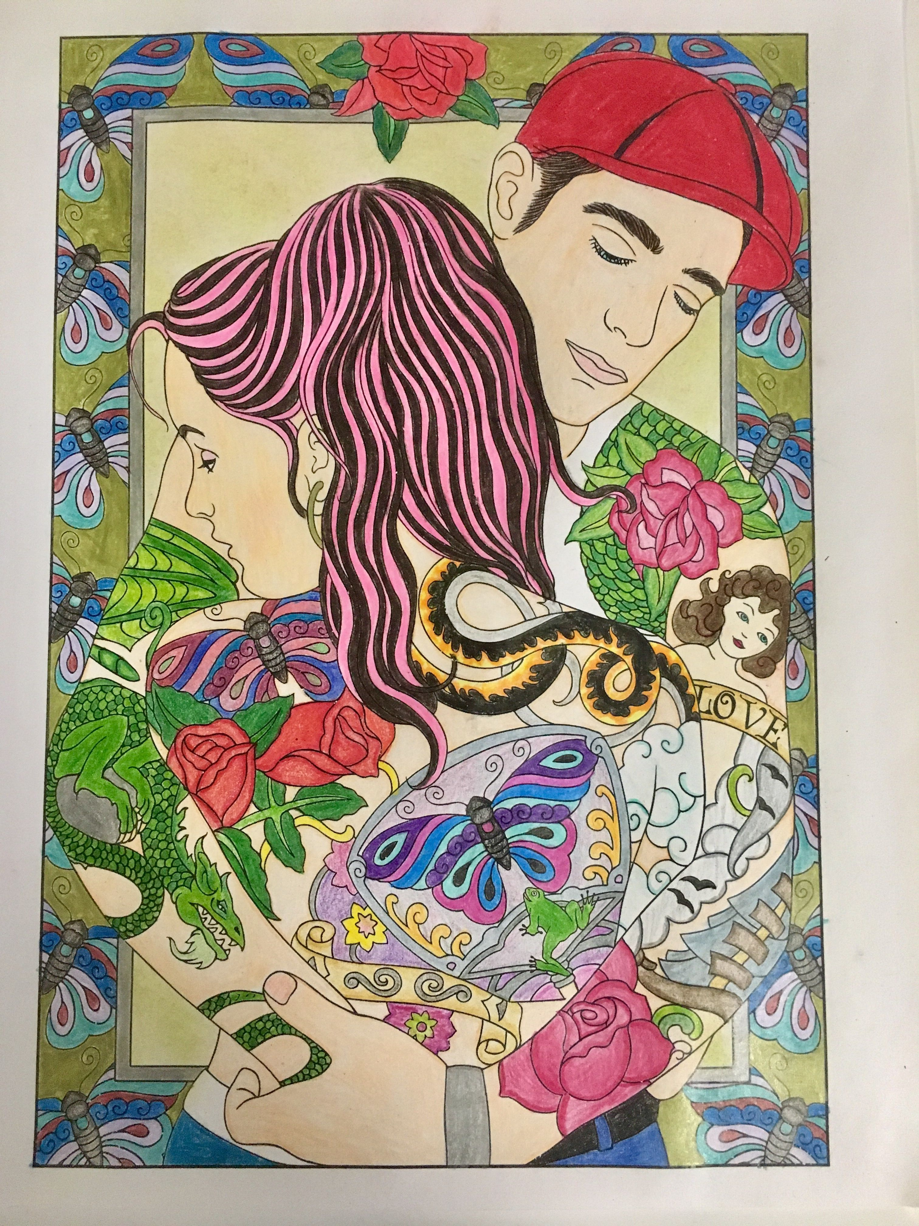 - Colored In Body Art Tattoo Designs Coloring Book By Marty Noble