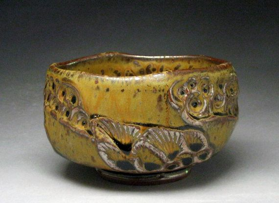Faceted Stoneware Tea Bowl With Impressed by Jeff Brown. Seagrove, NC, United States