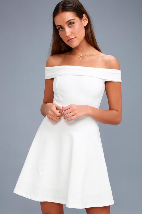 Season Of Fun White Off The Shoulder Skater Dress White Skater Dresses White Lace Skater Dress White Dresses For Women